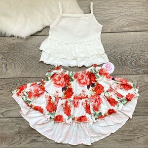Girl Boutique Red Rose Skirt Set